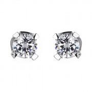 Σκουλαρίκια Μονόπετρα με Διαμάντια Λευκόχρυσος Κ18 - 063938E