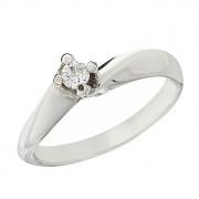 Δαχτυλίδι Μονόπετρο με Διαμάντι Λευκόχρυσος Κ18 - 06395