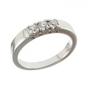 Δαχτυλίδι Μισόβερο με Διαμάντια Λευκόχρυσος Κ18 - 070003R