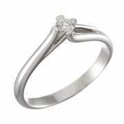 Δαχτυλίδι Μονόπετρο με Διαμάντι Λευκόχρυσος Κ18 - 07002