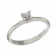 Δαχτυλίδι Μονόπετρο με Διαμάντι Λευκόχρυσος Κ18 - 07006