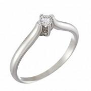Δαχτυλίδι Μονόπετρο με Διαμάντι Λευκόχρυσος Κ18 - 07019