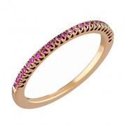 Δαχτυλίδι Μισόβερο με Ροζ Ζαφείρια Ροζ Χρυσός Κ18 - 08162PS