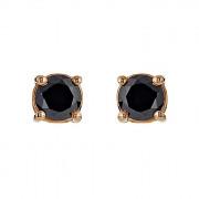 Σκουλαρίκια Μονόπετρα με Μαύρα Διαμάντια Ροζ Χρυσός Κ18 - 09028B