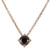 Μονόπετρο Μενταγιόν με Μαύρο Διαμάντι Ροζ Χρυσός Κ18 - 09028BL