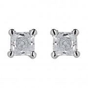 Σκουλαρίκια Μονόπετρα με Διαμάντια Λευκόχρυσος Κ18 - 09030