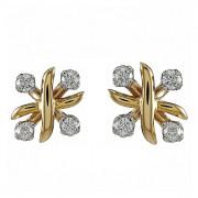 Σκουλαρίκια με Διαμάντια Δίχρωμα Κ18 - 09053