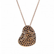 Μενταγιόν με Μαύρα Διαμάντια Ροζ Χρυσός Κ18 - 10008REBL