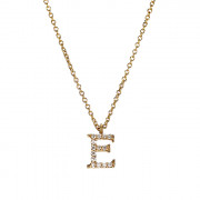 Μενταγιόν Μονόγραμμα E με Διαμάντια Χρυσός Κ18 - 10014E