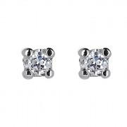 Σκουλαρίκια Μονόπετρα με Διαμάντια Λευκόχρυσος Κ18 - 31102