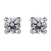 Σκουλαρίκια Μονόπετρα με Διαμάντια Λευκόχρυσος Κ18 - 31105B