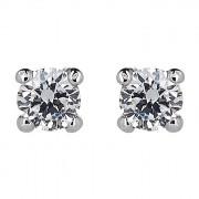 Σκουλαρίκια Μονόπετρα με Διαμάντια Λευκόχρυσος Κ18 - 31105C