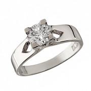 Δαχτυλίδι Μονόπετρο με Ζιργκόν Λευκόχρυσος Κ14 - 92274