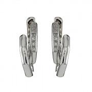 Σκουλαρίκια με Διαμάντια Λευκόχρυσος Κ18 - 04326
