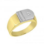 Δαχτυλίδι Ανδρικό με Ζιργκόν Δίχρωμο Κ14 - 90183