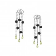 Σκουλαρίκια με Διαμάντια & Περίδοτο Λευκόχρυσος Κ18 - 0313EW