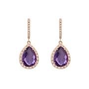 Σκουλαρίκια με Διαμάντια και Αμέθυστο Ροζ Χρυσός Κ18 - 16045