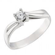 Δαχτυλίδι Μονόπετρο με Ζιργκόν Λευκόχρυσος Κ14 - 07126