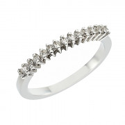 Δαχτυλίδι Μισόβερο με Διαμάντια Λευκόχρυσος  Κ18 - 07259