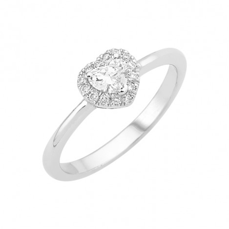Δαχτυλίδι Μονόπετρο με Διαμάντι Καρδιά Λευκόχρυσος Κ18 - 160022R