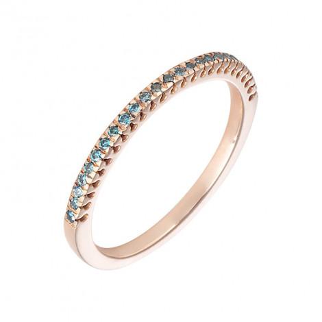 Δαχτυλίδι Μισόβερο με Μπλέ Διαμάντια Ροζ Χρυσός  K18 - 08162BLUE