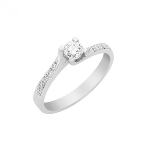 Δαχτυλίδι Μονόπετρο με Διαμάντια Λευκόχρυσος Κ18 - 16028