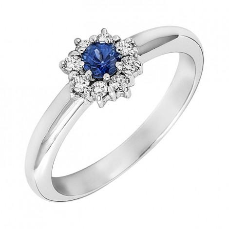 Δαχτυλίδι με Διαμάντια και Ορυκτή Πέτρα Λευκόχρυσος Κ18 - 05371