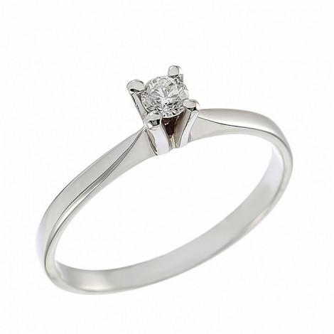 Δαχτυλίδι Μονόπετρο με Διαμάντι Λευκόχρυσος Κ18 - 043432R