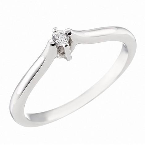 Δαχτυλίδι Μονόπετρο με Ζιργκόν Λευκόχρυσος Κ14 - 07143