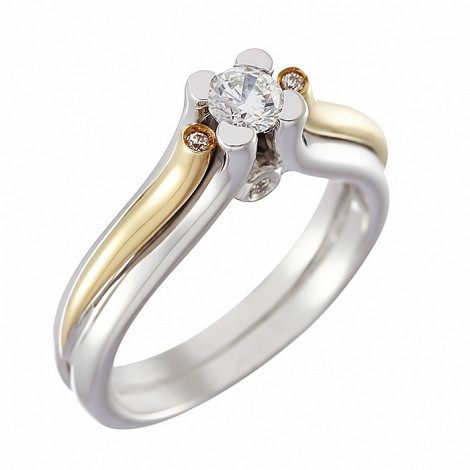 Δαχτυλίδι Μονόπετρο με Διαμάντι Δίχρωμο  Κ18 - 11401