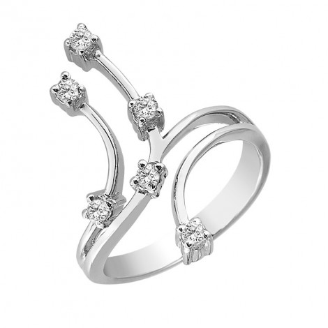 Δαχτυλίδι με Διαμάντια Λευκόχρυσος Κ18 - 15031