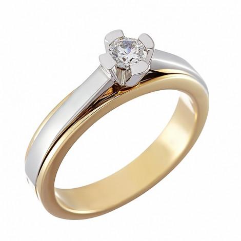 Δαχτυλίδι Μονόπετρο με Διαμάντι Δίχρωμο  Κ18 - 81020