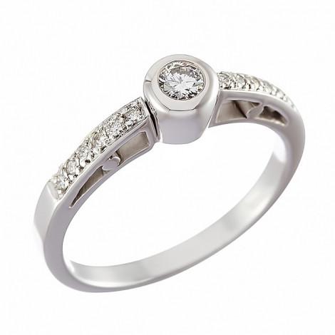 Δαχτυλίδι Μονόπετρο με Διαμάντια Λευκόχρυσος Κ18 - 90658