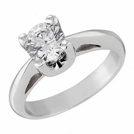 Δαχτυλίδι Μονόπετρο με Ζιργκόν Λευκόχρυσος Κ14 - 92134