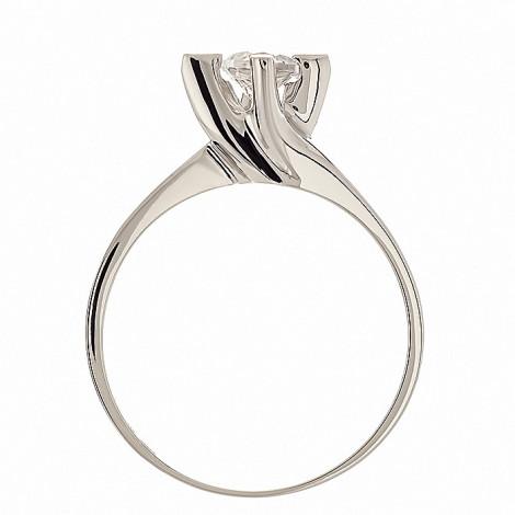 Δαχτυλίδι Μονόπετρο με Ζιργκόν Λευκόχρυσος Κ14 - 07338
