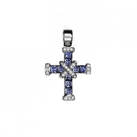 Σταυρός με Διαμάντια και Ορυκτές Πέτρες Λευκόχρυσος Κ18 - 13005