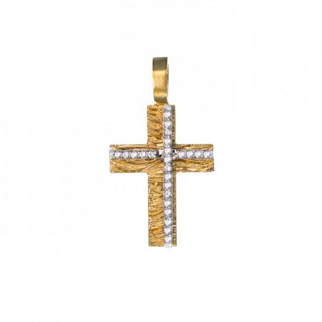Σταυρός με Ζιργκόν Δίχρωμος Κ14 - 13011CZ