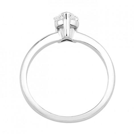 Δαχτυλίδι Μονόπετρο με Διαμάντι Καρδιά Λευκόχρυσος Κ18 - 16004