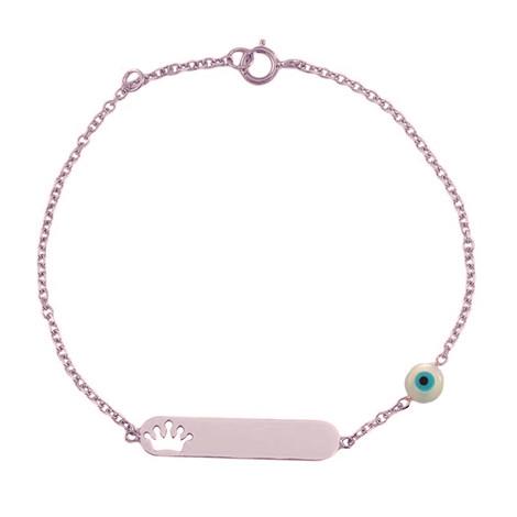 Παιδική Ταυτότητα Κορώνα και Ματάκι Ροζ Χρυστός Κ9 - 3T017R