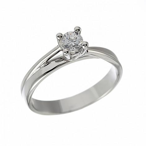 Δαχτυλίδι Μονόπετρο με Διαμάντι Λευκόχρυσος Κ18 - 11041