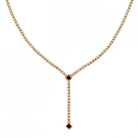 Κολιέ με Διαμάντια και Ρουμπίνι Χρυσός Κ18 - 40112RU