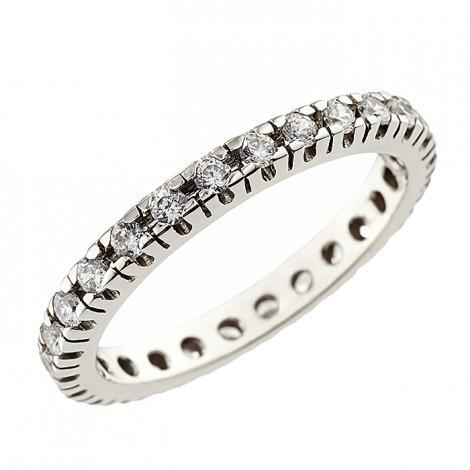 Δαχτυλίδι Ολόβερο με Ζιργκόν Λευκόχρυσος Κ14 - 92207