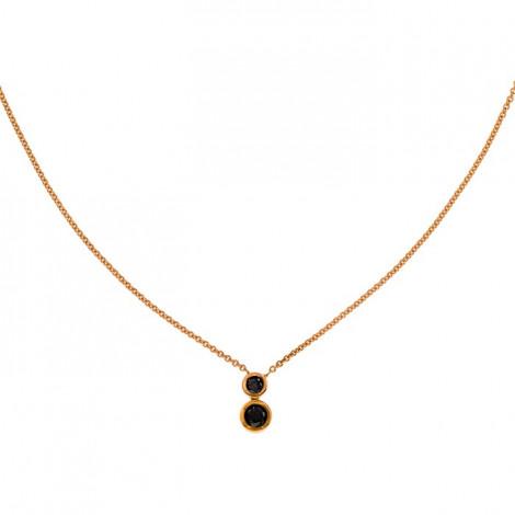 Κολιέ με Μαύρα Διαμάντια Ροζ Χρυσός Κ18 - 10004BL