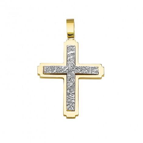 Σταυρός Διπλής Όψης Χρυσός και Λευκόχρυσος Κ14 - 13092MR