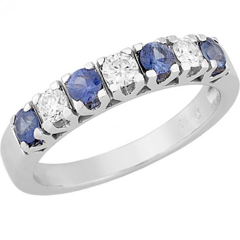 Δαχτυλίδι Μισόβερο με Διαμάντια και Ζαφείρι Κ18 - 07000.71.7R