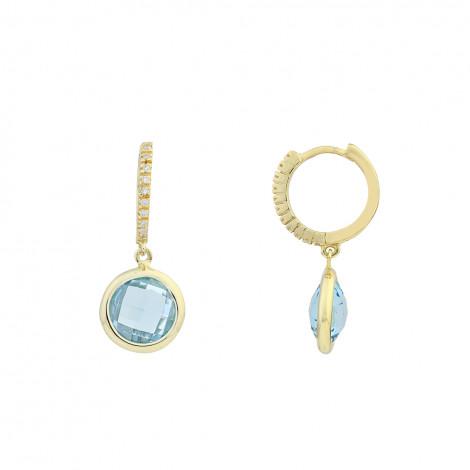 Σκουλαρίκια με Ζιργκόν και Μπλέ Τοπάζι Χρυσός Κ14 - 16047BT