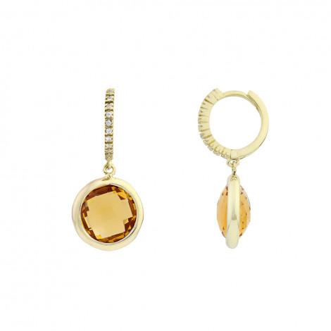 Σκουλαρίκια με Ζιργκόν και Citrine Χρυσός Κ14 - 16048CI