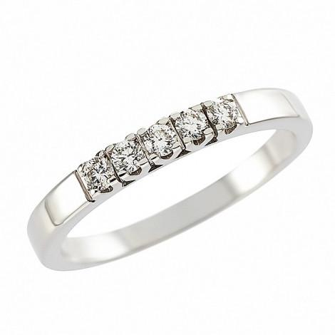 Δαχτυλίδι Μισόβερο με Διαμάντια Λευκόχρυσος Κ18 - 070445R