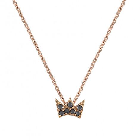 Κολιέ Κορώνα με Μαύρα Ζιργκόν Ροζ Χρυσός Κ9 - 13029Κ9