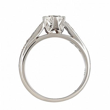 Δαχτυλίδι Μονόπετρο με Διαμάντια Λευκόχρυσος Κ18 - 063931R